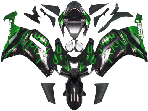 Fairings Kawasaki ZX6R ZX636 Black & Green Flame Ninja Racing  (2007-2008)