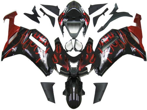 Fairings Kawasaki ZX6R ZX636 Black & Red Flame Ninja ZX6R  Racing  (2007-2008)