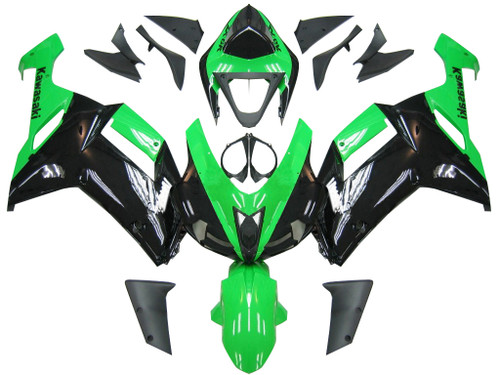 Fairings Kawasaki ZX6R ZX636 Green Black Ninja ZX6R  Racing  (2007-2008)