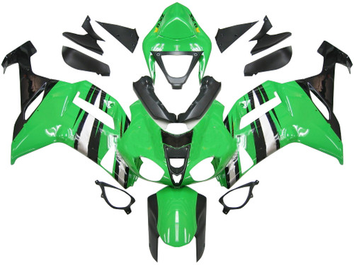 Fairings Kawasaki ZX6R ZX636 Green Black Silver  Ninja ZX6R Racing  (2007-2008)