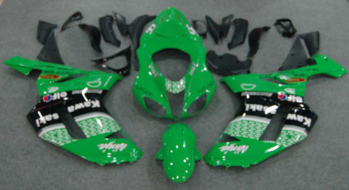Fairings Kawasaki ZX6R ZX636 Green Black  ZX6R Racing  (2007-2008)