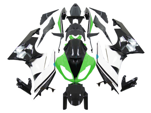 2009-2012 Fairings Kawasaki ZX6R ZX636 Green White Black Ninja Racing