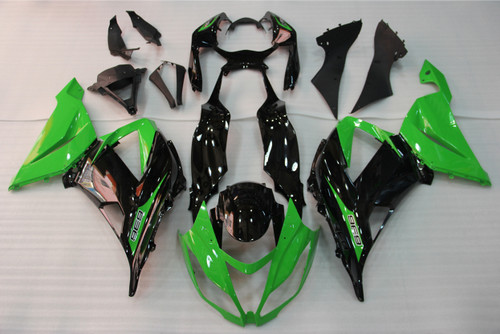 Fairings Plastics Kawasaki ZX6R 636 Green Black Ninja Racing (2013-2015)