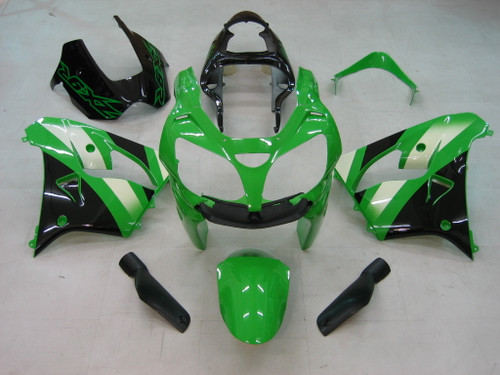 Fairings Kawasaki ZX 9R Green Black ZX9R Racing  (2001-2002)
