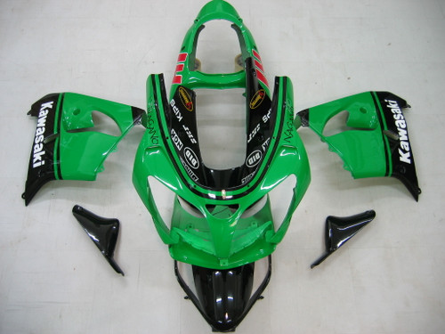 Fairings Kawasaki ZX 9R Green Black No.14 ZX9R Racing  (2001-2002)