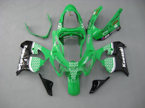 Fairings Kawasaki ZX 9R Green Black No.56 Nakano  Racing  (2001-2002)