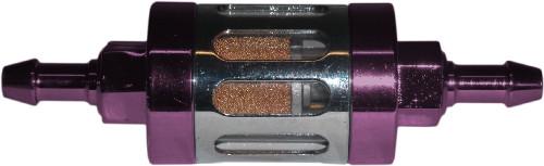Fuel Filter 6mm Anodised Aluminium Purple Glass Centre (Each)