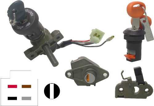 Pair Ignition Switch Piaggio,Gilera Barrel Thickness of 15.00mm