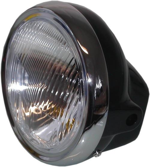 "Headlight Round Chrome Bottom Mount Bowl Back 8/"" Clear Lens"