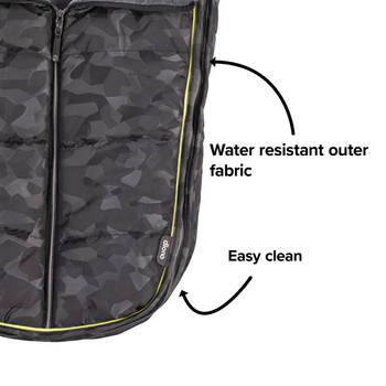Made with water resistant outer fabrics thats easy to clean  [Black Camo]