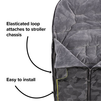 Easy to install with elasticated hoops to attach to your stroller [Black Camo]