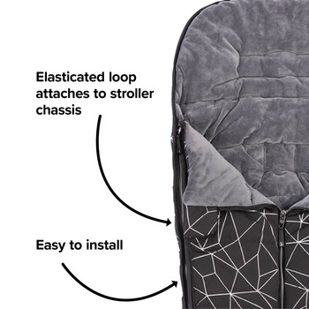 Easy to install with elasticated hoops to attach to your stroller [Black Platinum]