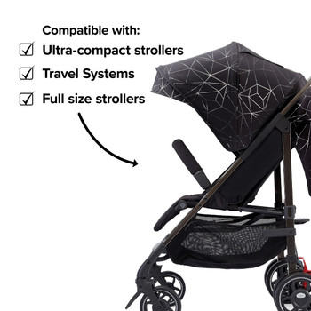 Compatible with all strollers from full size travel systems to ultra compact strollers  [Black Platinum]