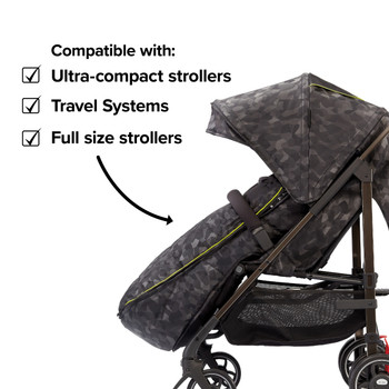Compatible with all strollers from full size travel systems to ultra compact strollers  [Black Camo]