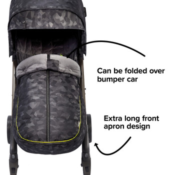 Extra long apron design able to fold over the stroller bumper bar  [Black Camo]