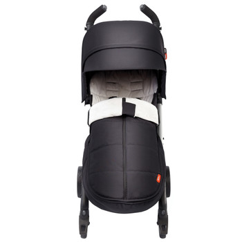 All Weather Stroller Footmuff, Universal Fit from Baby to Toddler With Cozy Super Soft Padding, Weatherproof, Water Resistant Lining shown on Stroller [Black Midnight]