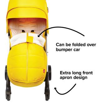 Extra long apron design able to fold over the stroller bumper bar [Yellow Sulphur]