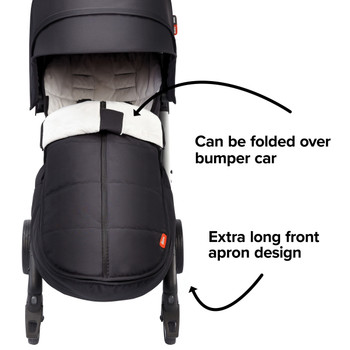 Extra long apron design able to fold over the stroller bumper bar  [Black Midnight]