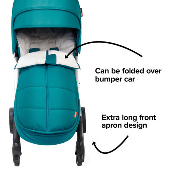 Extra long apron design able to fold over the stroller bumper bar [Blue Turquoise]