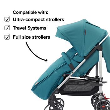 Compatible with all strollers from full size travel systems to ultra compact strollers [Blue Turquoise]