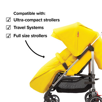 Compatible with all strollers from full size travel systems to ultra compact strollers [Yellow Sulphur]