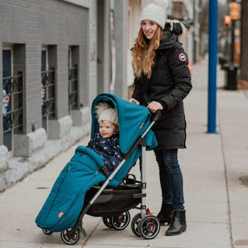All Weather Stroller Footmuff, Universal Fit from Baby to Toddler With Cozy Super Soft Padding, Weatherproof, Water Resistant Lining shown on Stroller [Blue Turquoise]