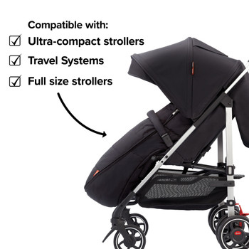 Compatible with all strollers from full size travel systems to ultra compact strollers  [Black Midnight]