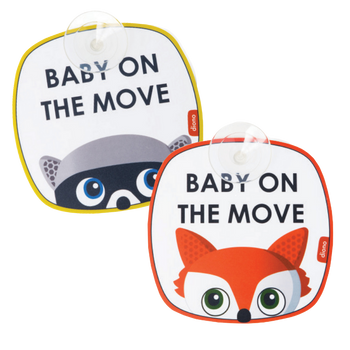 Baby on the Move 2 Pack of Baby On Board Car Window Stickers with Suction Cups, Bright Yellow
