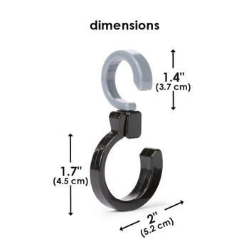 Diono Buggy Hooks are 5.2cm / 2 inches width by 8.2cm / 3.2 inches height