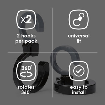 Diono Buggy Hooks feature 2 in every pack, with universal fit, 360 degree rotation and are easy to install