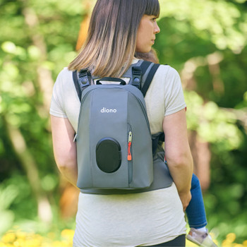 Baby and Mother using the Diono Carus Complete 4-in-1 Child & Baby Carrying System with Detachable Backpack [Gray Light]