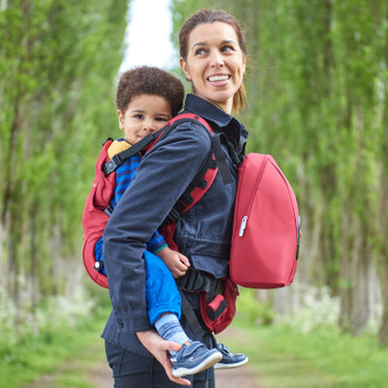 Child and Mother using the Diono Carus Complete 4-in-1 Child & Baby Carrying System with Detachable Backpack [Red]