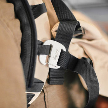 Close up of Diono Carus Essentials 3-in-1 Carrying System Safety Features [Sand]