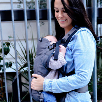 Mother and Baby using the Diono Carus Essentials 3-in-1 Carrying System [Gray Light]