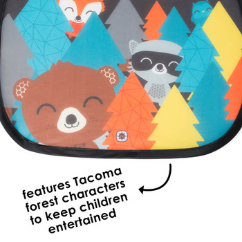 Features Tacoma forest characters to keep children entertained