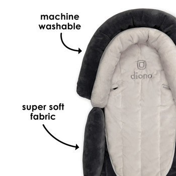 Diono Cuddle Soft 2-in-1 Baby Head Neck Body Support Pillow is machine washable and has super soft fabric [Gray/Arctic]