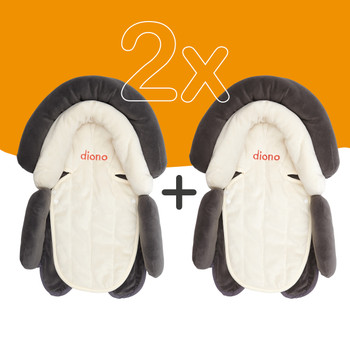Diono Cuddle Soft Pack of 2 Baby Head Neck Body Support Pillows For Newborn Baby Super Soft Car Seat Insert Cushion, Perfect for Infant Car Seats, Convertible Car Seats, Strollers [Gray]