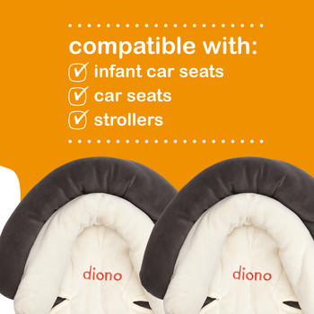Diono Cuddle Soft Pack of 2 Baby Head Neck Body Support Pillows is compatible with; infant car seats, car seats and strollers [Gray]