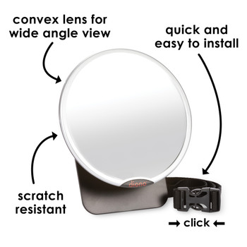 Diono Baby Car Mirror 2 Pack - Easy View Features: Conex Lens for Wider View, Quick and Easy to Install, Scratch Resistant [Silver]