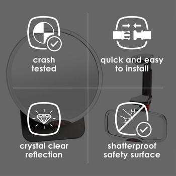 Diono Baby Car Mirror 2 Pack - Features: Crash tested, quick and easy to install, crystal clear reflection, shatterproof safety surface [Silver]