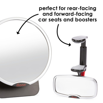Diono Baby Car Mirror 2 Pack - Perfect for Rear and Forward Facing  [Silver]