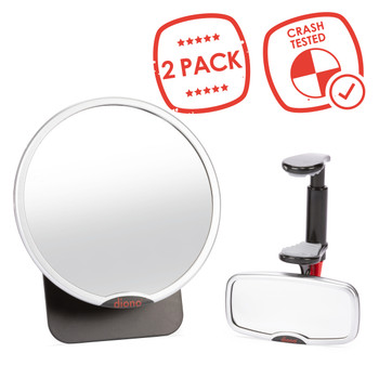 Diono Baby Car Mirror 2 Pack - Best seller, Crash tested [Silver]