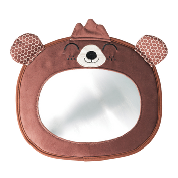 Easy View™ Bear Character Baby Car Mirror, Safety Car Seat Mirror for Rear facing Infant, Fully Adjustable, Wide Crystal Clear View, Shatterproof, Crash Tested [Bear]