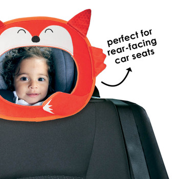 Easy View™ Character Baby Car Mirror is perfect for rear-facing car seats [Fox]