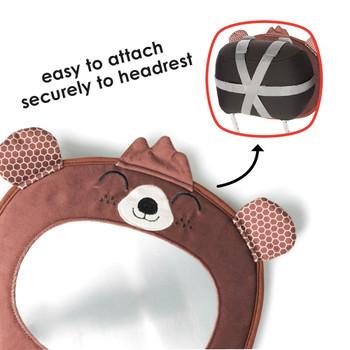 Easily attach to vehicle headrest [Bear]