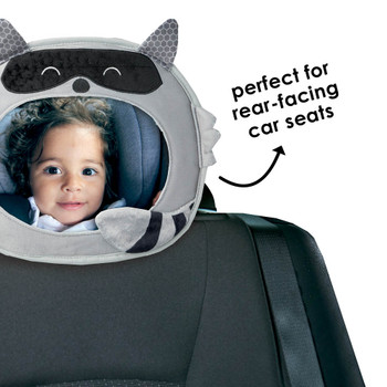Easy View™ Character Baby Car Mirror is perfect for rear-facing car seats [Raccoon]