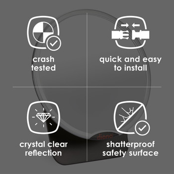 Diono Easy View® Baby Car Mirror - Features: Crash Tested, Quick and Easy to Install, Shatterproof Safety Surface, Crystal Clear Reflection [Silver]