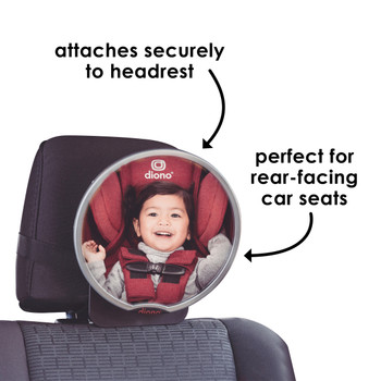 Diono Easy View® Baby Car Mirror - attached to car seat headrest [Silver]