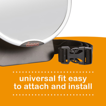 Diono Easy View™ Pack of 2 Baby Car Mirror has a universal fit easy to attach and install [Silver]