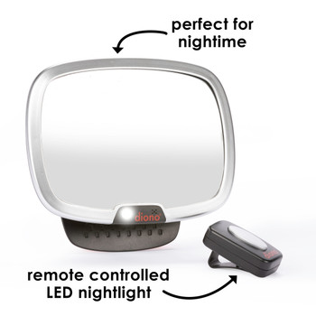 Diono Easy View® Plus Baby Car Mirror - Perfect for night time,  remote controlled LED light [Silver]